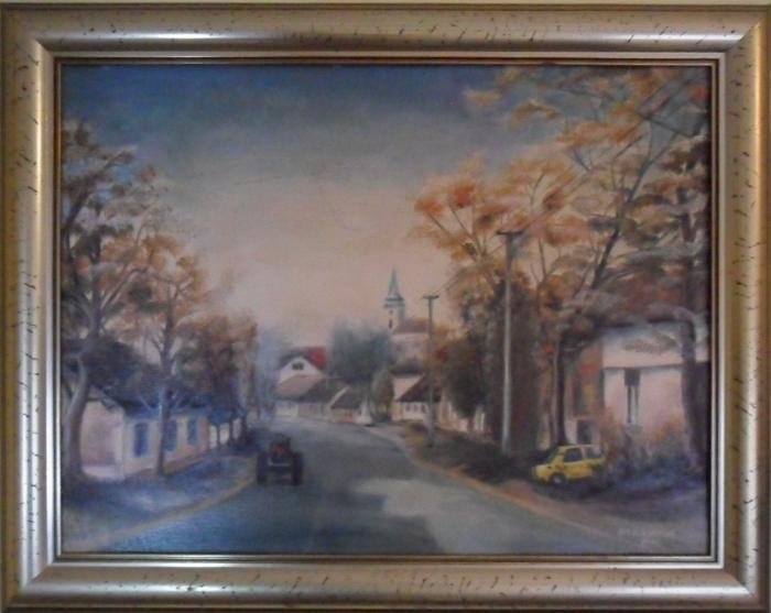Oil on Canvas 'Ulica u Šidu' by Kovinčić Milutin