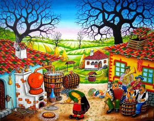 Oil on Canvas 'Cheerful machine' by Zarić Zoran