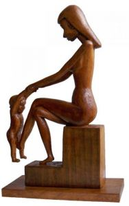 Sculpture on Other 'Mother with baby playing, fig 2' by Labus Slobodan
