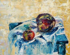 Oil on Hardboard 'Apples of mine' by Todosijević Mina