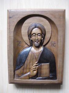 Handicraft on Wood 'Isus Pantokrator' by Milišić Milan