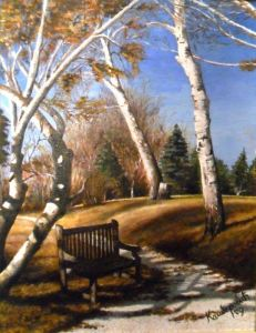 Oil painting for sale 'Bench' by Kamberović Udait – Original Oil paintings art gallery