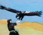 Oil on Canvas 'Falcon Trainer' by Trkulja Radislav Rasa