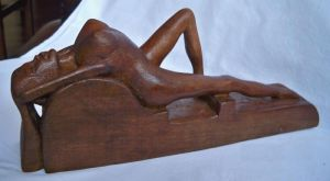 Sculpture on Wood 'Women resting on waves' by Labus Slobodan