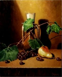 Oil on Canvas 'Still Life and Fruit' by Mesaros Jozi