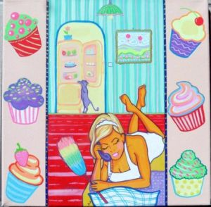 Acrylic on Canvas 'Choose Carefully Your Cleaning-Lady' by Kovacevic Mira