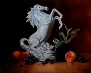 Oil on Canvas 'Porcelain Horse and fruit' by Mesaros Jozi