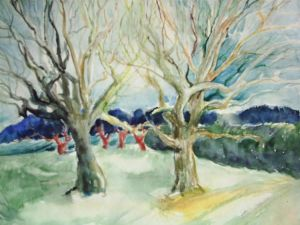 Watercolor on Paper 'Two Trees Familiarly' by Sakic Ljubica