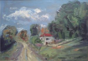 Oil on Canvas 'Rural landskape' by Veselinović Zoran