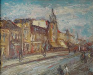 Oil on Wood 'old Niš' by Veselinović Zoran