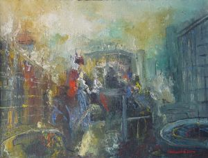 Oil on Canvas 'točak istorije' by Veselinović Zoran