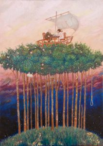 Oil on Canvas 'Dream - Treeboat' by Glozic Milan