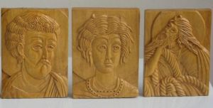 Handicraft on Wood 'St. Lukas, Tripun and Ilija, minijatures' by Labus Slobodan