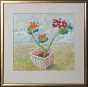 Oil painting for sale 'Flowers in Sguare Flowerpot' by Zivanovic Aleksandar – Original Oil paintings art gallery