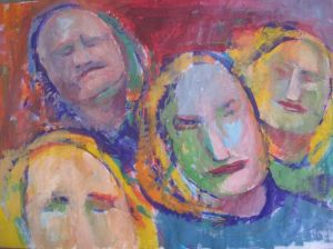 Mixed Media on Paper 'Group portrait 6' by Beara Đorđe