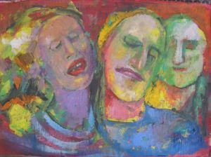 Mixed Media on Paper 'Group portrait 8' by Beara Đorđe