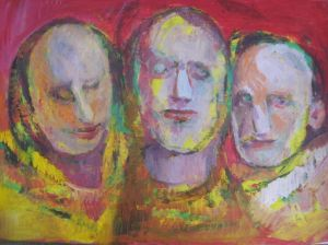 Mixed Media on Paper 'Group portrait 10' by Beara Đorđe