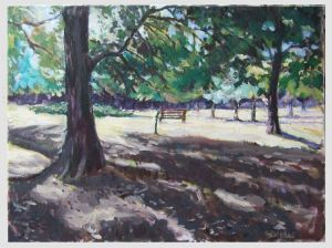 Oil on Canvas 'A bench' by Stojović Zoran