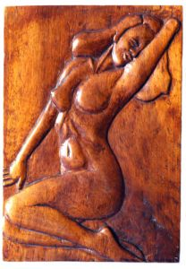 Handicraft on Wood 'Merlin Monroe' by Labus Slobodan