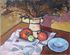 Other Media on Canvas 'Still life with dry flowers and pomegranates' by Stojović Zoran