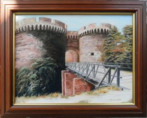 Oil on Canvas 'ZINDAN Gate at the Kalemegdan' by Kovinčić Milutin