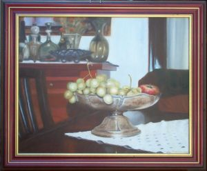 Oil on Canvas 'Grapes of Afus Ali in a Silver Bowl' by Kovinčić Milutin