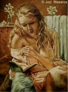 `The girl reading a book`