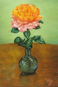 `Colorful rose in a small, round, green vase`