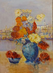 `Flowers in blue vase and Belgrade I`