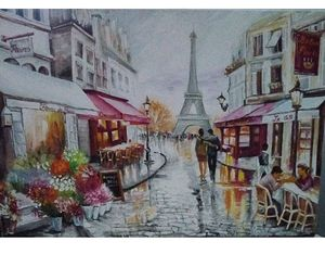 `Parisian sunset after rain`