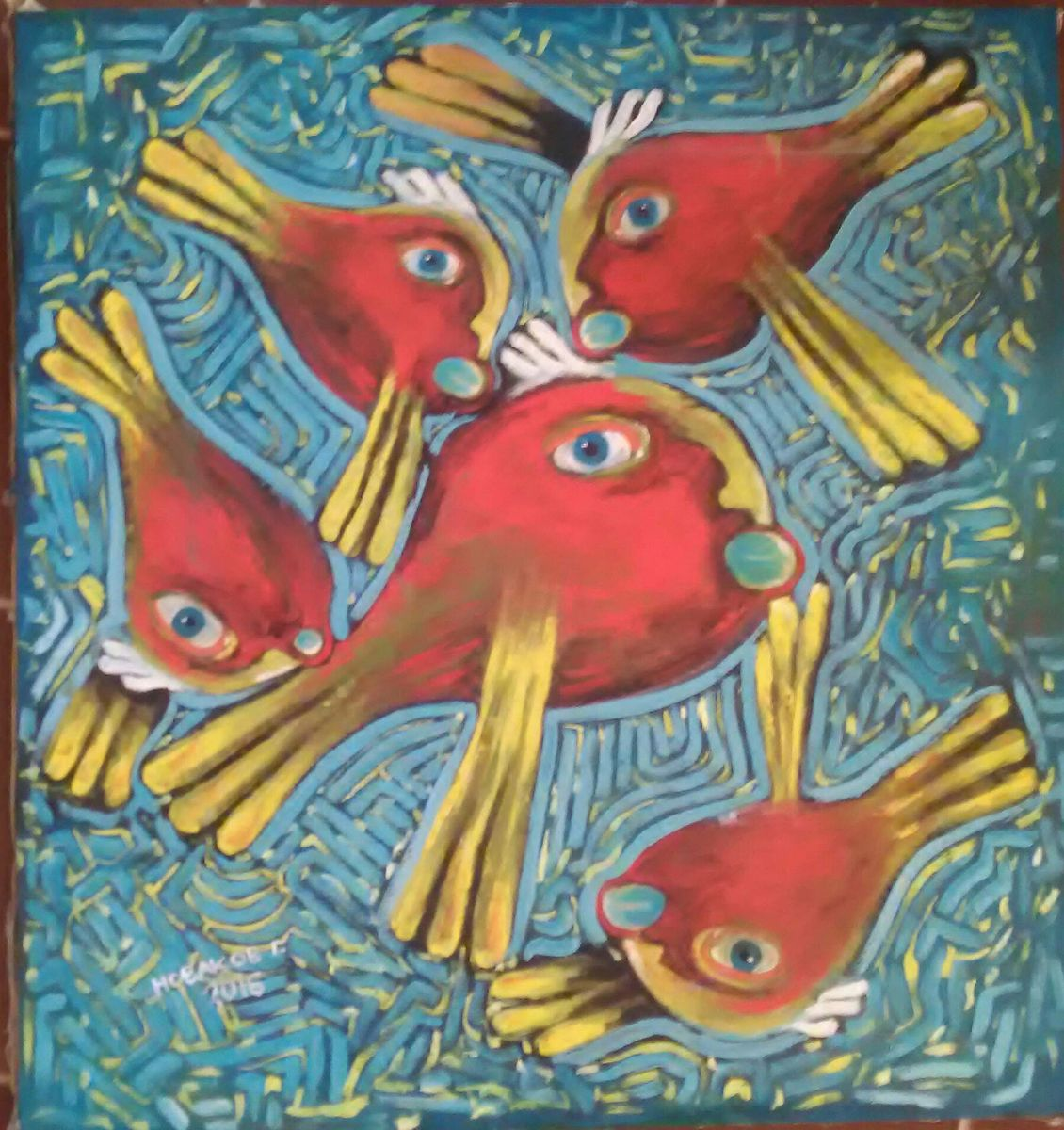 `Red birds over the city`