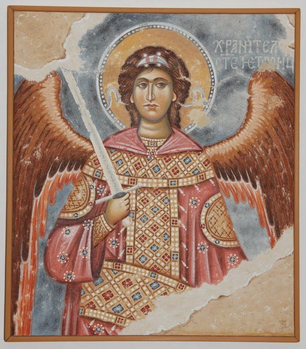 Serbia, Sopocani, Archangel - keeper of the Holy Trinity, copy of fresco