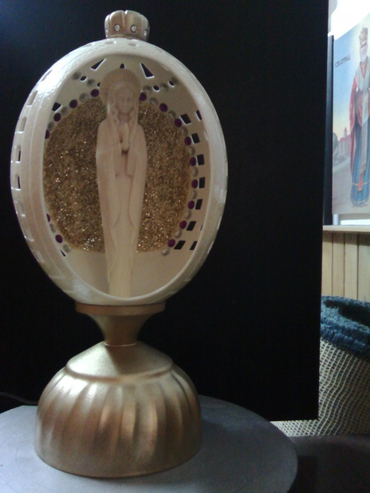 Decorative lamp made out of carved ostrich egg #1