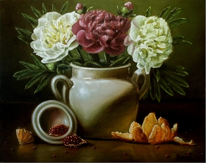 Flowers with oranges