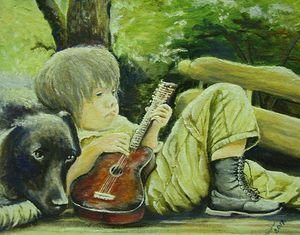 A boy with a guitar and a dog