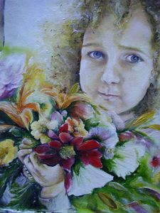 A girl with a flower