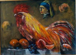 a girl with a rooster