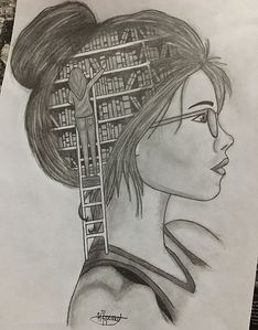 A girl with books