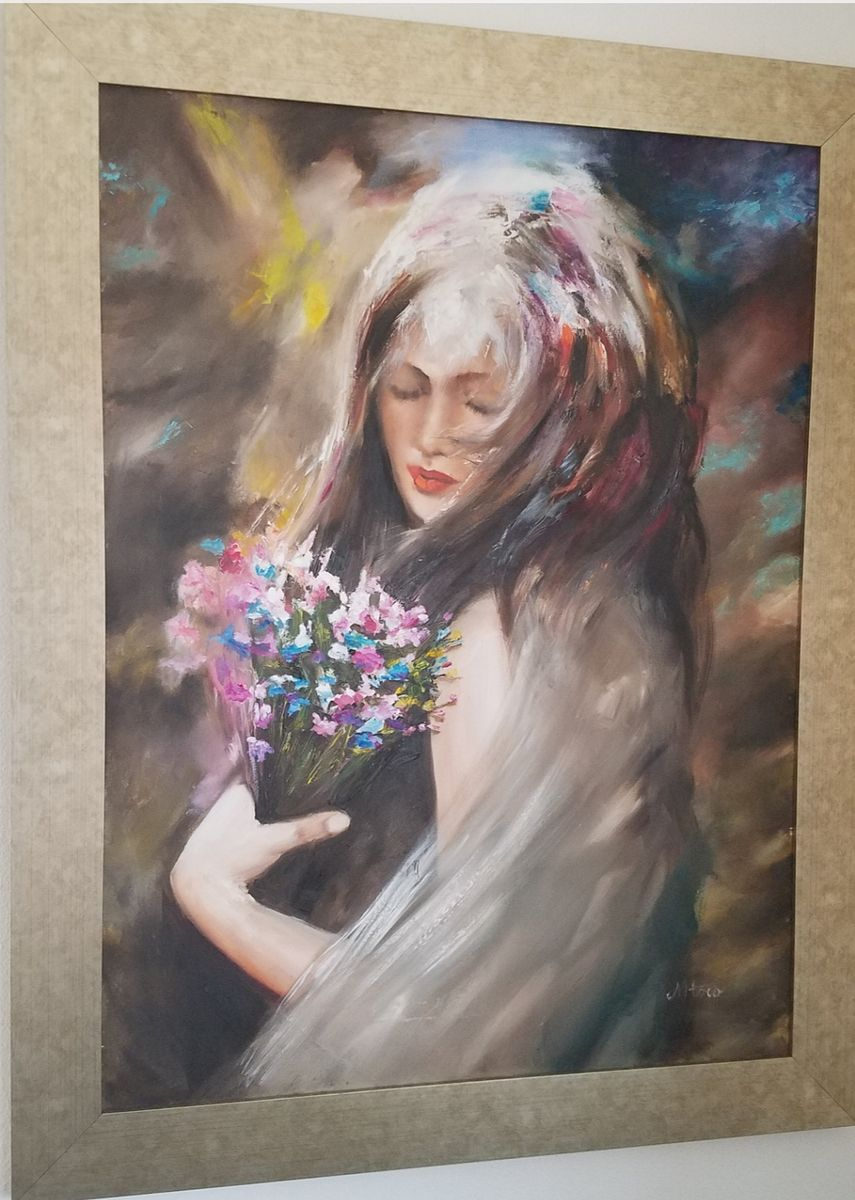 A girl with flowers