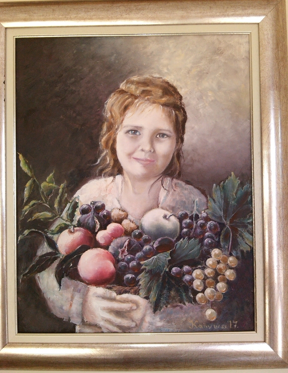 A girl with fruit