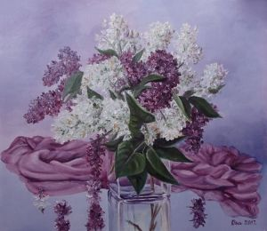 A vase with lilacs