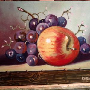 apple and grapes