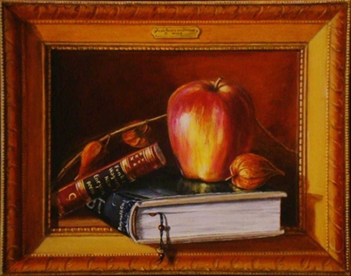 Apple ,book and Frame