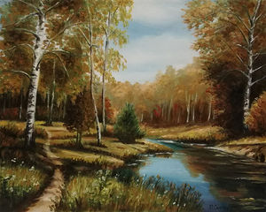Birch at the stream - autumn