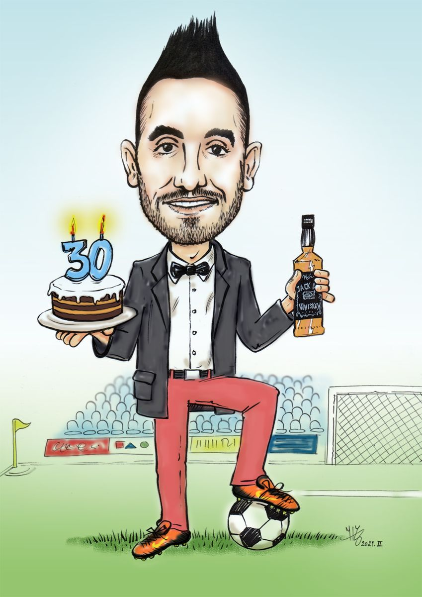 Birthday portrait-caricature for a football player