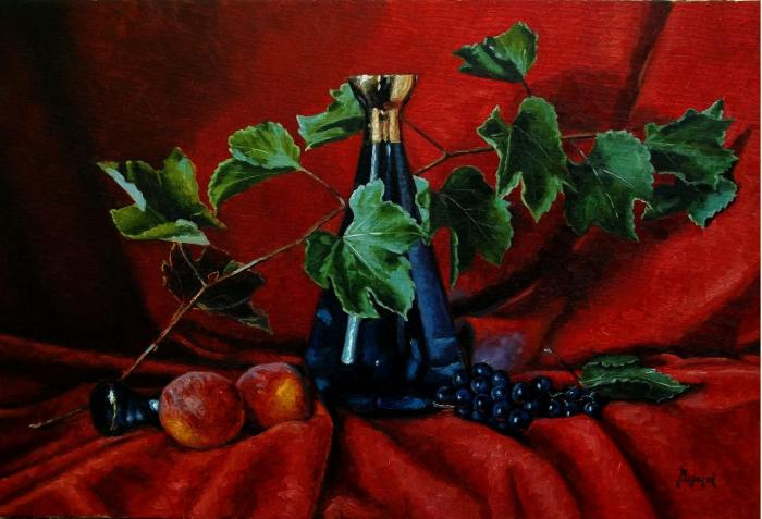 Blue carafe and fruit