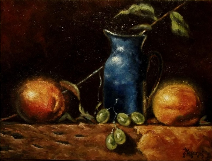 Blue pitcher and fruit 2