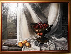 Bowl with cherries 80x65cm