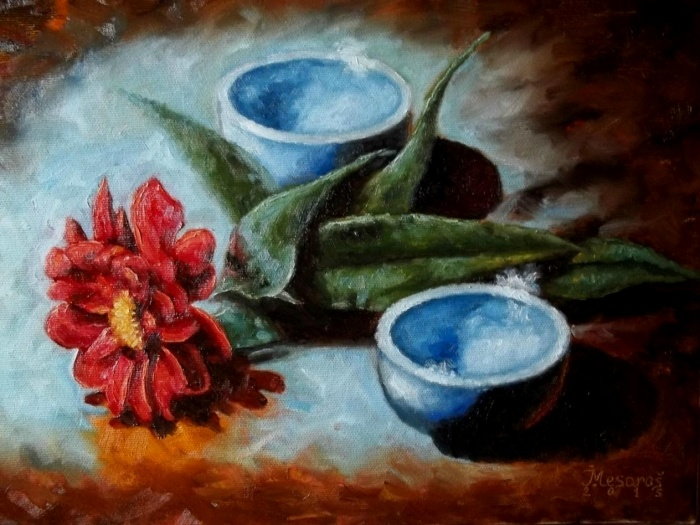 Bowls and flower