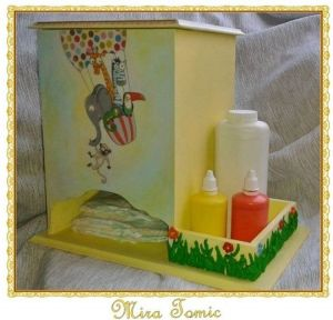 Box for diapers and baby`s cosmetics